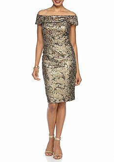 Calvin Klein Off the Shoulder Printed Jacquard Sheath Dress