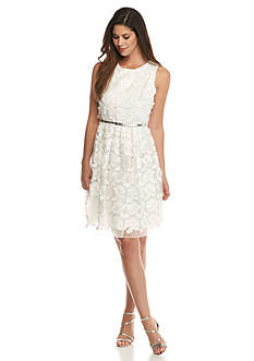 Calvin Klein Embroidered Mesh Fit and Flare Dress