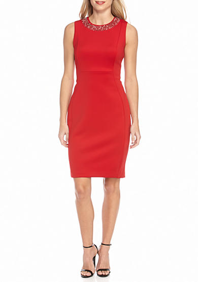 Calvin Klein Bead Embellished Sheath Dress