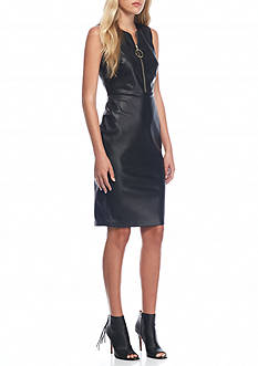 Calvin Klein Front Zip Faux Leather Sheath Dress