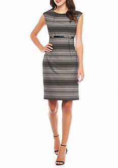 Calvin Klein Belted Stripe Sheath Dress