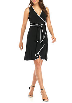 Calvin Klein Two-Tone Wrap Dress