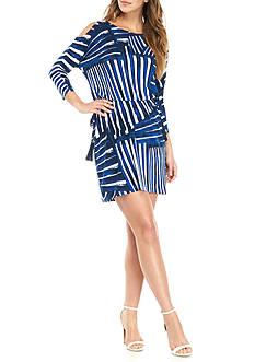 Calvin Klein Cold Shoulder Printed Drawstring Waist Dress