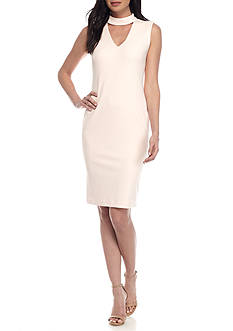 Calvin Klein High Neck V Cut-Out Sheath Dress