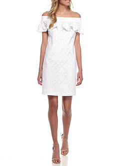 Calvin Klein Off-the-Shoulder Eyelet Shift Dress