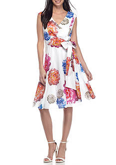 Calvin Klein Faux Wrap Floral Fit-and-Flare Dress