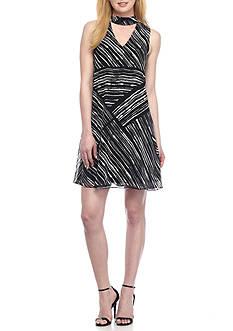 Calvin Klein High Neck V-Insert A-Line Dress