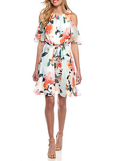 Calvin Klein Floral Printed Cold Shoulder Fit-and-Flare Dress