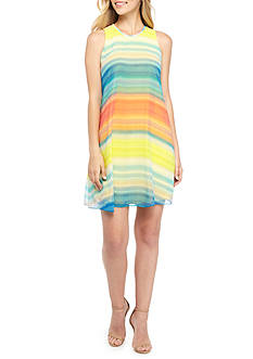Calvin Klein Zigzag Stripe Trapeze Dress
