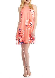 Calvin Klein Floral Chiffon A-Line Dress