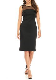 Calvin Klein Illusion Neckline Scuba Midi Sheath Dress