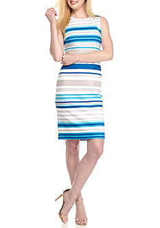 Calvin Klein Stripe Scuba Sheath Dress