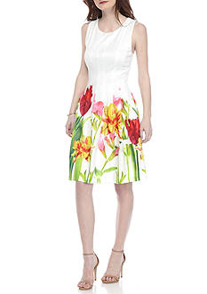 Calvin Klein Floral Bottom Fit and Flare Dress