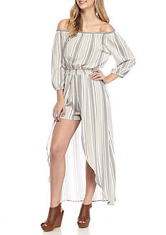 Eyeshadow Off The Shoulder Stripe Jumpsuit