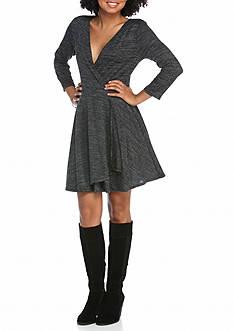Eyeshadow Three Quarter Sleeve Skater Dress