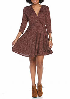 Eyeshadow Three Quarter Sleeve Skater Dress