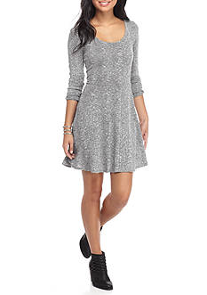 Eyeshadow Marled Knit Skater Dress