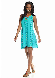 As U  Wish Sleeveless Embroidered Shift Dress