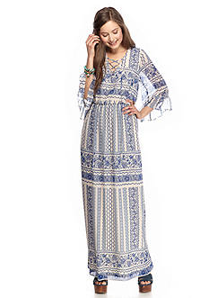 As U  Wish Printed Lace-Up Maxi Dress