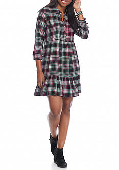 As U  Wish Long Sleeve Tiered Plaid Dress