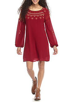 As U Wish Embroidered Neck Swing Dress