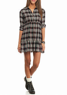As U  Wish Tiered Plaid Dress