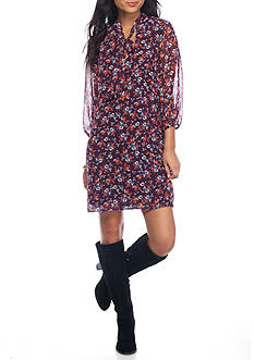 As U Wish Floral Print Tie Neck Dress