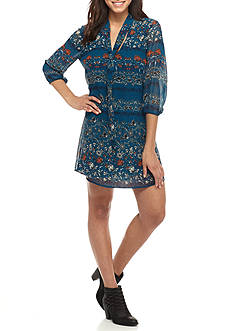 As U  Wish Printed Tie Neck Dress
