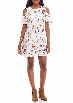 As U  Wish Floral Cold Shoulder Dress