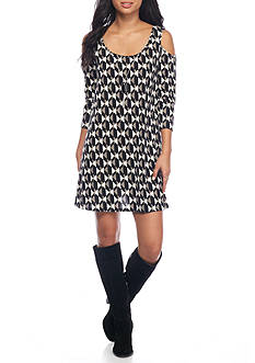 As U  Wish Printed Cold Shoulder Dress
