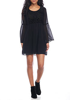 As U Wish Velvet Yoke Crepe Juliet Sleeve Dress