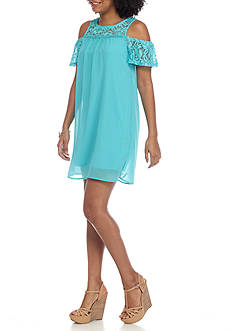 As U Wish Cold Shoulder Chiffon Dress