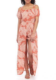 As U Wish Maxi Printed Cold Shoulder Romper