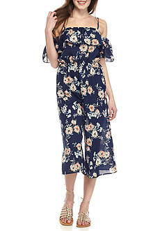 As U Wish Floral Cold Shoulder Maxi Jumpsuit