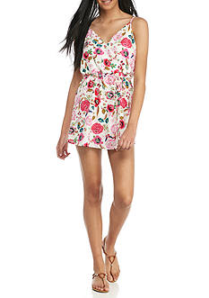 As U Wish Surplice Tie Floral Print Romper