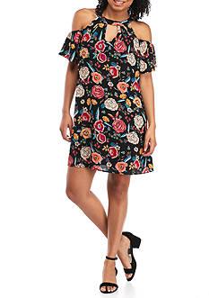 As U Wish Printed Cold Shoulder Gigi Dress