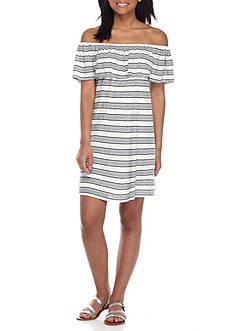 As U Wish Off-the-Shoulder Stripe Knit Dress