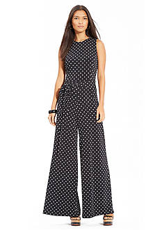 Lauren Ralph Lauren Sleeveless Polka-Dot Jumpsuit