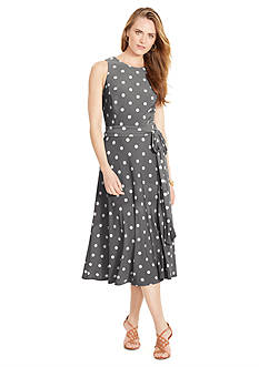 Lauren Ralph Lauren Polka Dot Crew Neckline Dress