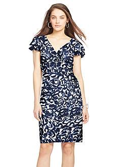 Lauren Ralph Lauren Flutter-Sleeve Matte Jersey Floral Dress