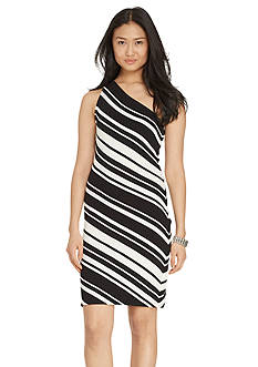 Lauren Ralph Lauren One-Shoulder Striped Dress