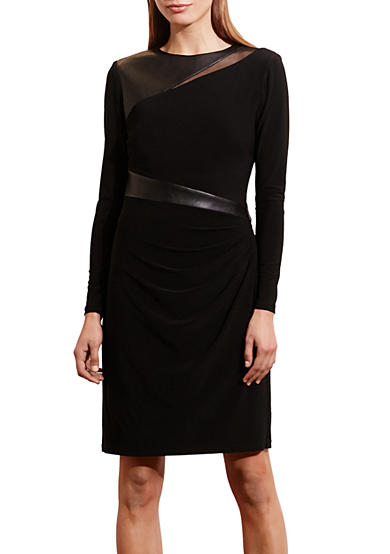 Lauren Ralph Lauren Mesh-Yoke Jersey Dress