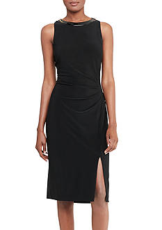 Lauren Ralph Lauren Leather-Trim Jersey Dress