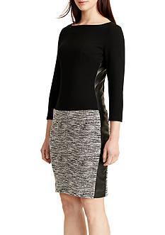 Lauren Ralph Lauren Faux-Leather-Trimmed Dress