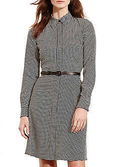 Lauren Ralph Lauren Houndstooth Crepe Shirt Dress
