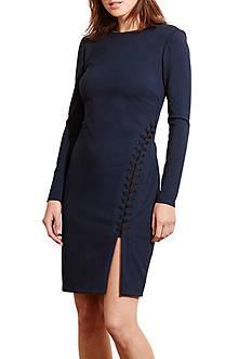 Lauren Ralph Lauren Lace-Up Ponte Dress