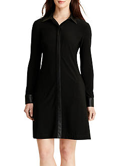 Lauren Ralph Lauren Faux-Leather-Trim Shirt Dress