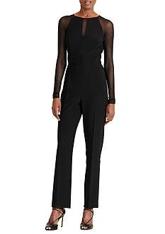 Lauren Ralph Lauren Mesh-Panel Jersey Jumpsuit