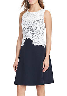 Lauren Ralph Lauren Lace-Bodice Crepe Dress