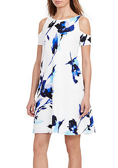 Lauren Ralph Lauren Cutout Floral Crepe Dress